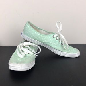 Keds Mint Green White Polka Dots Lace Sneakers